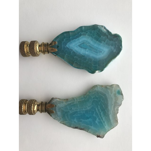 Turquoise Agate Stone Lamp Finials - A Pair - Image 2 of 4