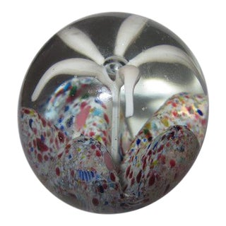 Collectible Trumpet Lily Frit Wave Art Glass Paperweight