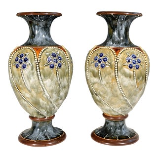Royal Doulton Marbled Pottery Vases - A Pair