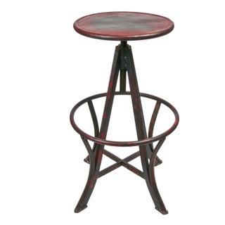 Vintage Inspired Adjustable Metal Stool in Red