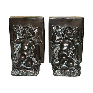 1920s Ronson Cherub and Butterfly Bookends - Pair