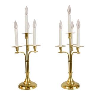 Mid-Century Brass Candelabras - A Pair