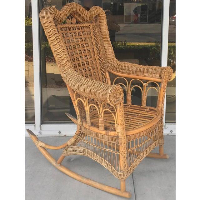 Antique Rattan & Bamboo Rocking Chair  Chairish