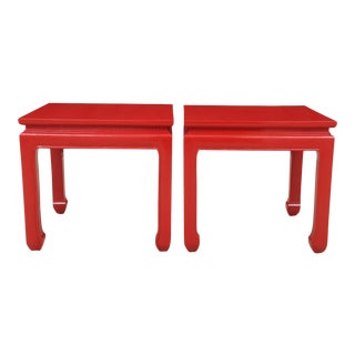 Ming Style Red End Tables - a Pair