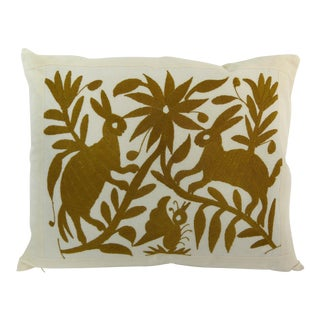 Handmade Long Stitch Embroidered Brown Rabbits Pillow