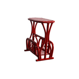 Red Bamboo End Table/Magazine Rack with Swivel Top