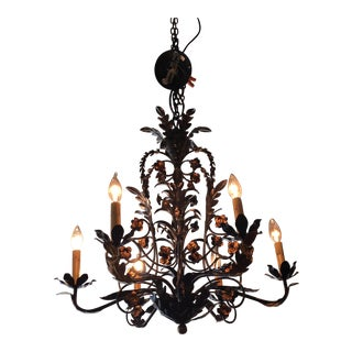 Currey & Company Black Iron Gilded Chandelier