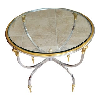 Maison Jansen Style Chromed Steel and Polished Brass Side Table With Half Inch Glass Insert