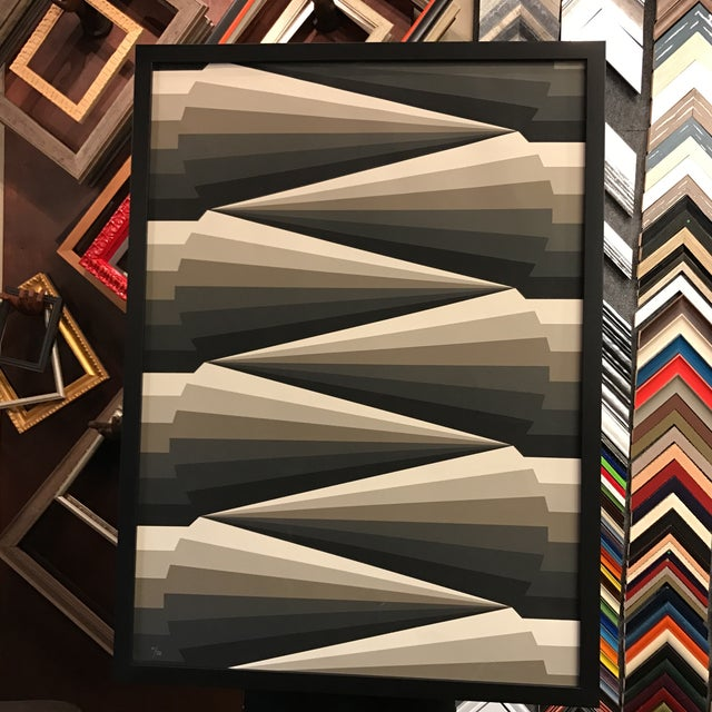 Image of Framed Geometric Abstract Lithograph