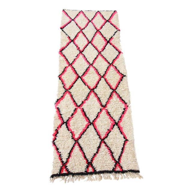 Vintage Moroccan Beni Ourain Pink Runner - Image 1 of 7