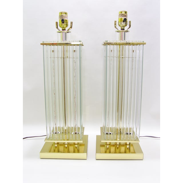 Sciolari-Style Vintage Glass Rod Lamps - A Pair - Image 6 of 8
