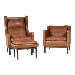 Stouby Polsterfabrik Danish Chairs & Ottoman - Set of 3