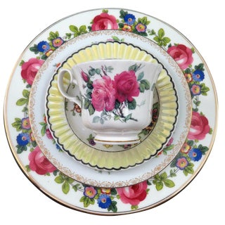 Vintage Mismatched Fine China, 5 Pc Place Setting