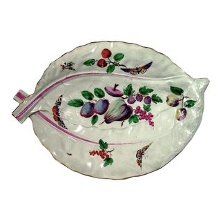 First Period Worcester Porcelain Polychrome Double Leaf Dish