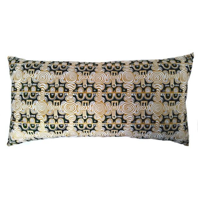 Emerald & Gold African Print Lumbar Pillow - Image 1 of 3
