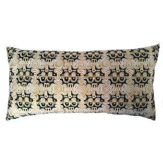 Emerald & Gold African Print Lumbar Pillow