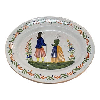 Quimper Faience Embossed Oval Platter
