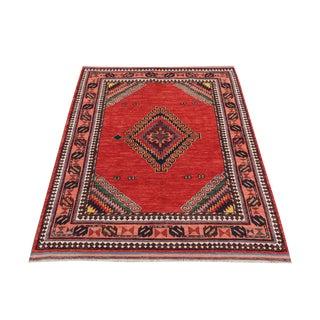Vibrant Afghani Traditional Rug - 4′4″ × 5′9″