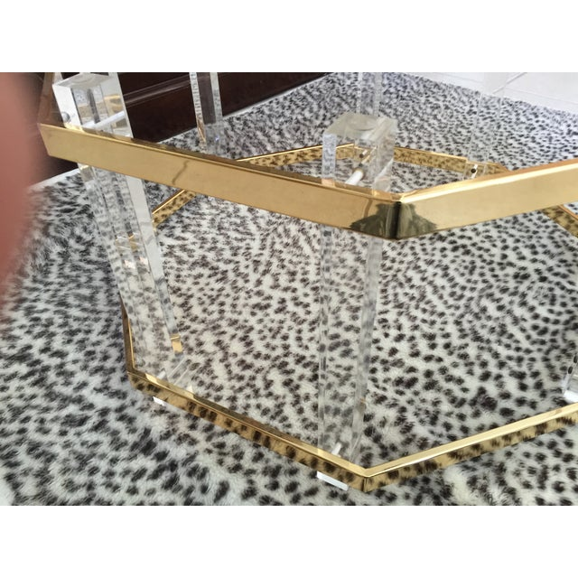 Image of Brass & Lucite Coffee Table