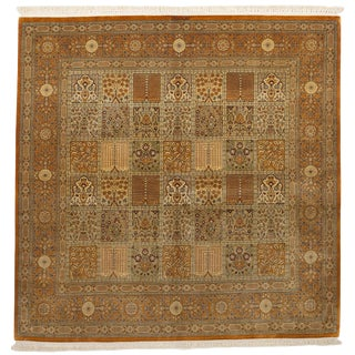 """Hand Knotted Pure Silk Persian Qom Rug - 4'10"""" x 4'10"""""""