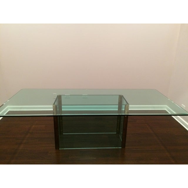 Large Pace Collection Glass & Brass Dining Table - Image 2 of 11