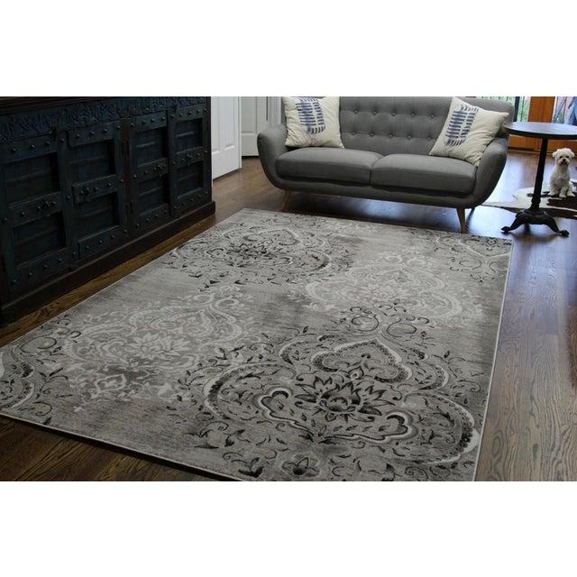 "Damask Gray & White Rug- 8' x 10'7"" - Image 3 of 7"