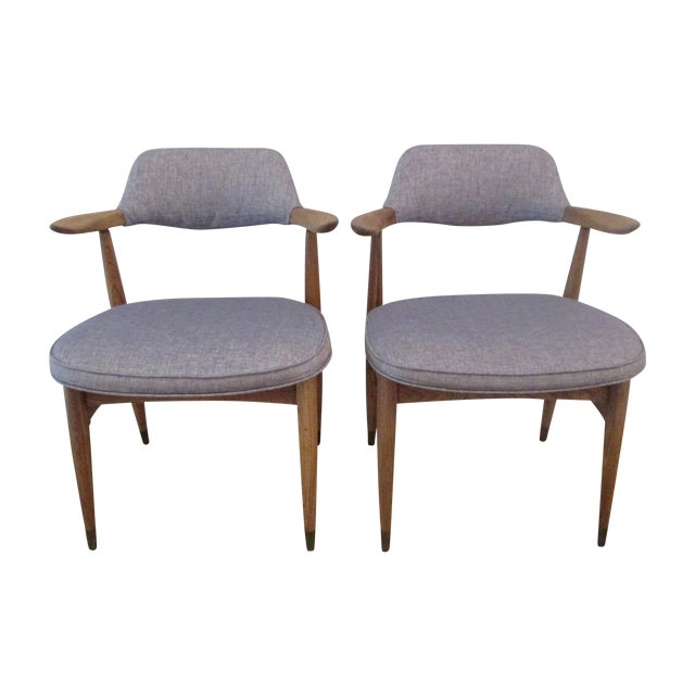 MCM Reupholstered Oak Chairs by Paoli - A Pair - Image 1 of 8