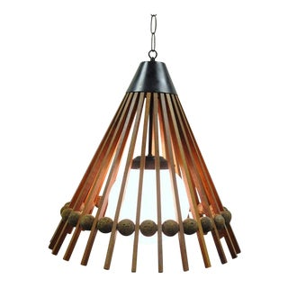 Vintage Danish Modern Teak & Cork Pendant Light
