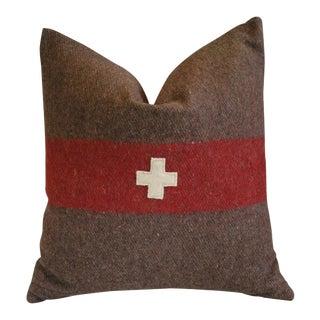 """22"""" Swiss Appliqué Cross Wool & Linen Feather/Down Pillow"""