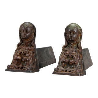 Antique French Cast Iron Female Figural Andirons or Firedogs - Pair