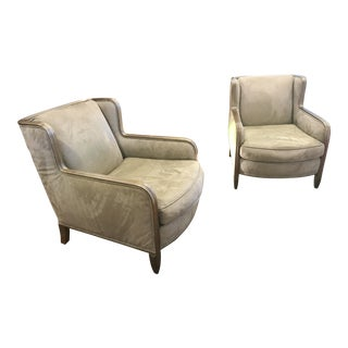 Art Deco Revival Club Chairs in Sage Green Suede - A Pair