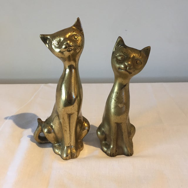 Siamese Brass Cats - A Pair - Image 2 of 5