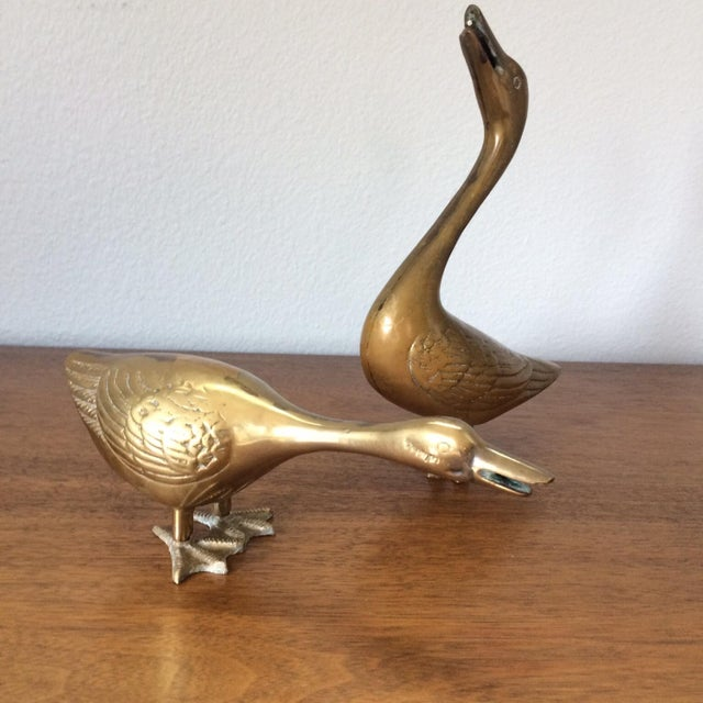Vintage Brass Ducks - A Pair - Image 2 of 5