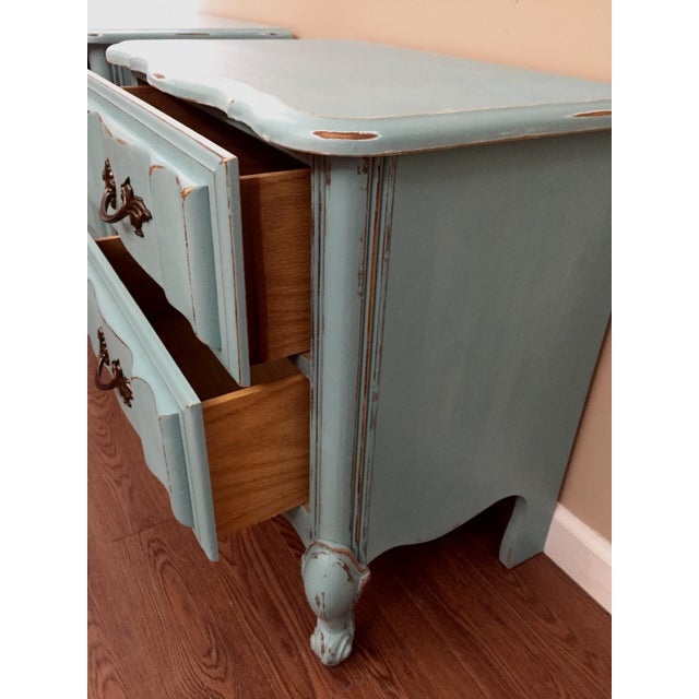 Mint Blue French Provence Nightstands - A Pair - Image 4 of 11