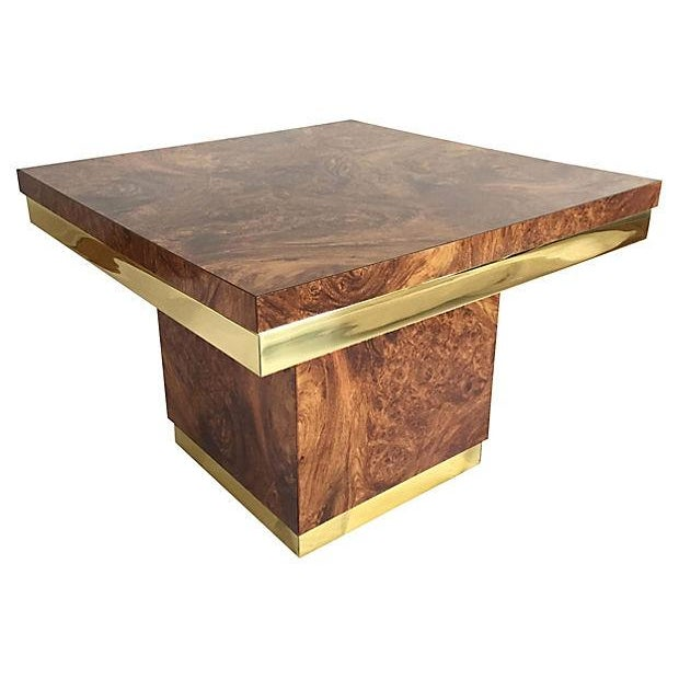 Burl and Brass Accent Table - Image 1 of 5