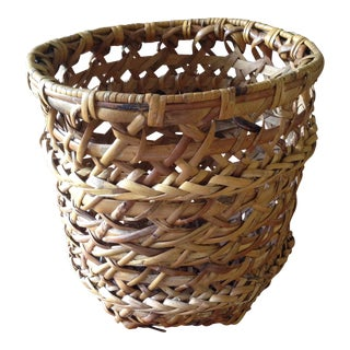 Large Vintage Rattan Planter Basket