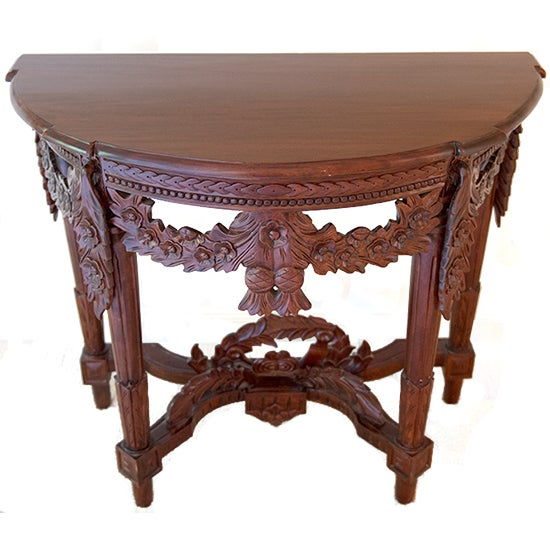Carved Rosewood Stained Thai Console Table - Image 1 of 4