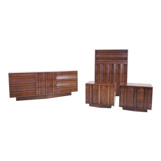 Lane Sculptural/Brutalist Nine-Drawer Walnut Dresser