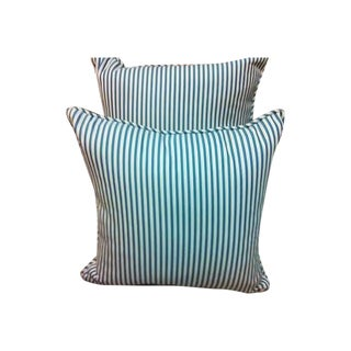 Blue and White Striped Pillow
