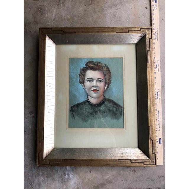 Vintage Female Portrait Chalk Drawing - Image 7 of 7