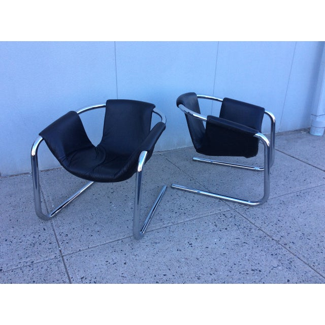 Image of 1970s Italian Chrome & Leather Lounge Chairs Pair