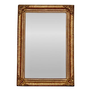 19th Century Louis Philippe Ribbed Gilt Wood Wall Mirror With Cartouche Corners