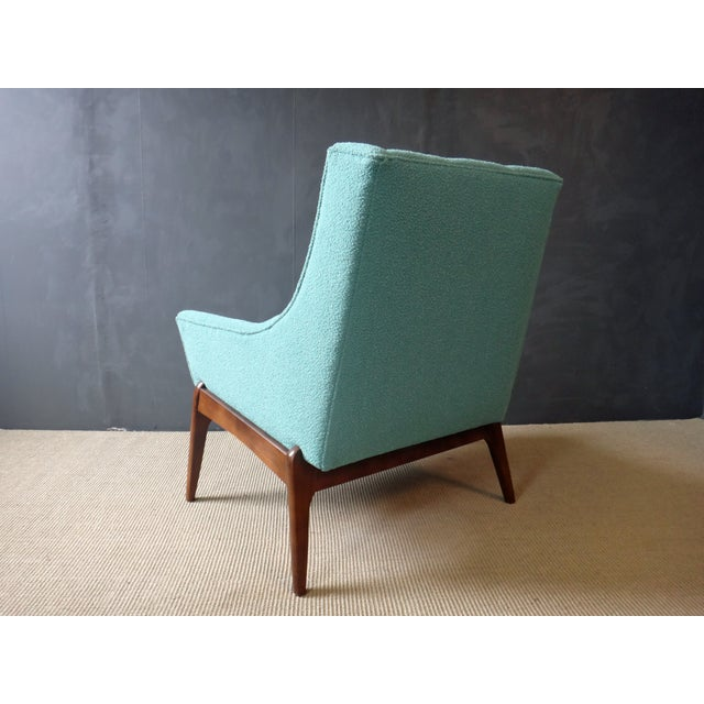 Mid-Century Reupholstered Turquoise Club Chair - Image 4 of 5