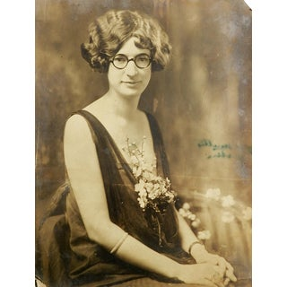 C.1920 Flapper Girl With Glasses & Plunging Neckline Portrait Photo