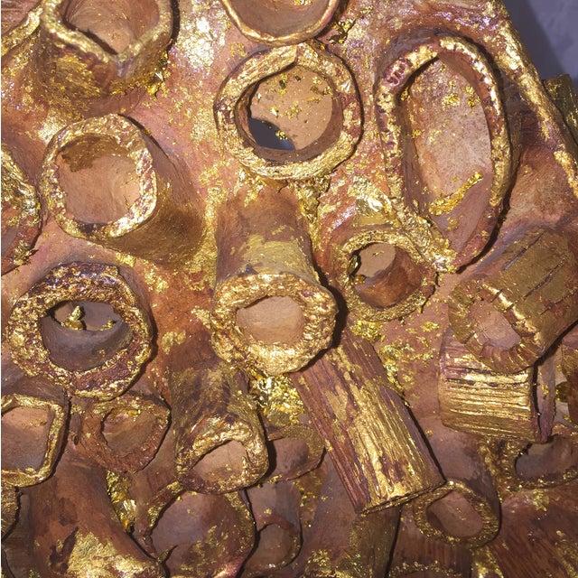 Midcentury Terra-Cotta and Gold Leaf Sculpture - Image 3 of 8