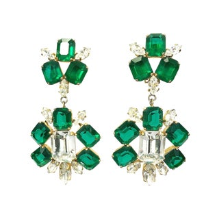 1960s Schreiner New York Rhinestone Drop Earrings