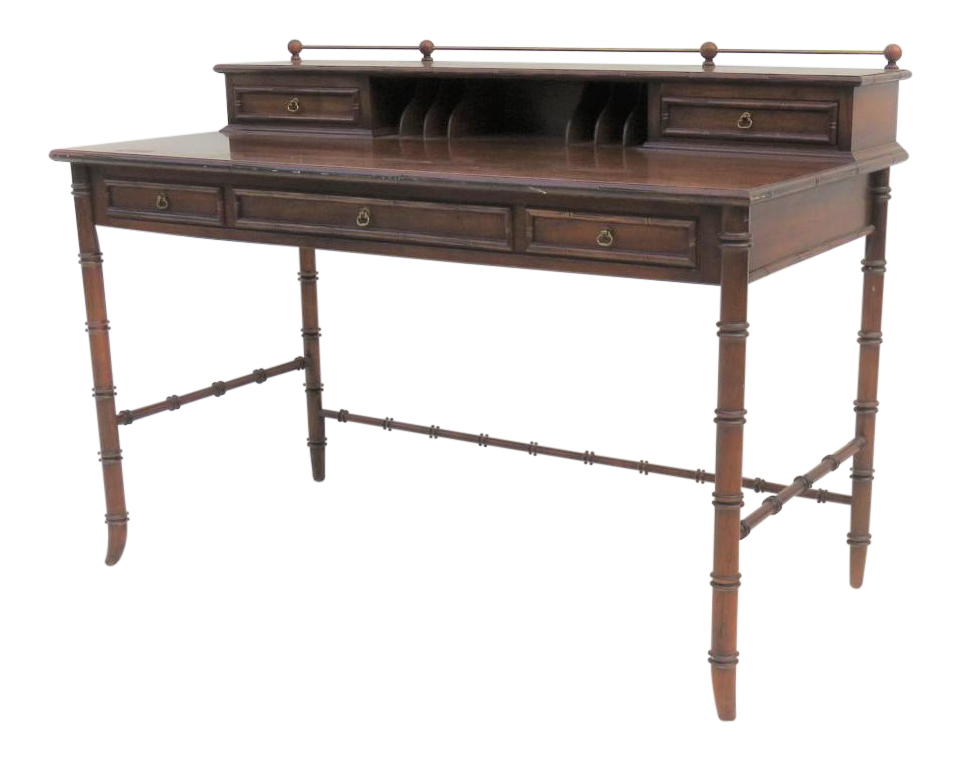 Lane Oak Faux Bamboo Writing Desk
