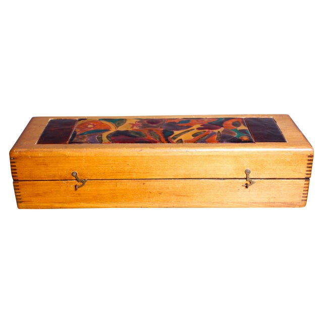 Late 1940s Elizabeth Bensley Enamel Wooden Box - Image 1 of 6