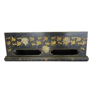 Black & Gold Painted Wood Planter