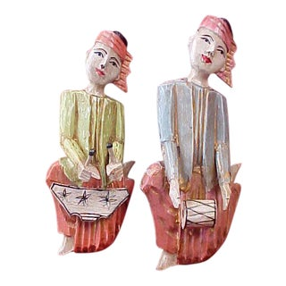 Chinese Hand Carved Wooden Figures of Musicians - A Pair